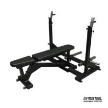 Adjustable Bench Press has an adjustable angle. It is the perfect solution to save space in the gym. Stable and robust design ensure safety. Bunk adjustment of the seat of the corners. Also adjustable barbells touch Assist height.