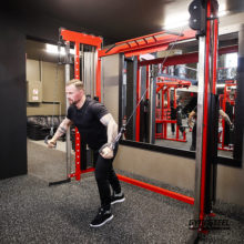 Cable Crossover Machine is two cable system with height-adjustable handles. Standard width 220 cm between the handles, it saves space in the gym.