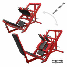 Hack-Squat & Leg Press Mix (D1-D2) is two in one, perfectly allowing train leg muscles. Proper angle minimizes the load on knees.
