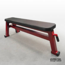 Flat Bench with transport wheels. If you want the ability to perform all the basic barbell and dumbbell exercises then this flat bench should be your choice.
