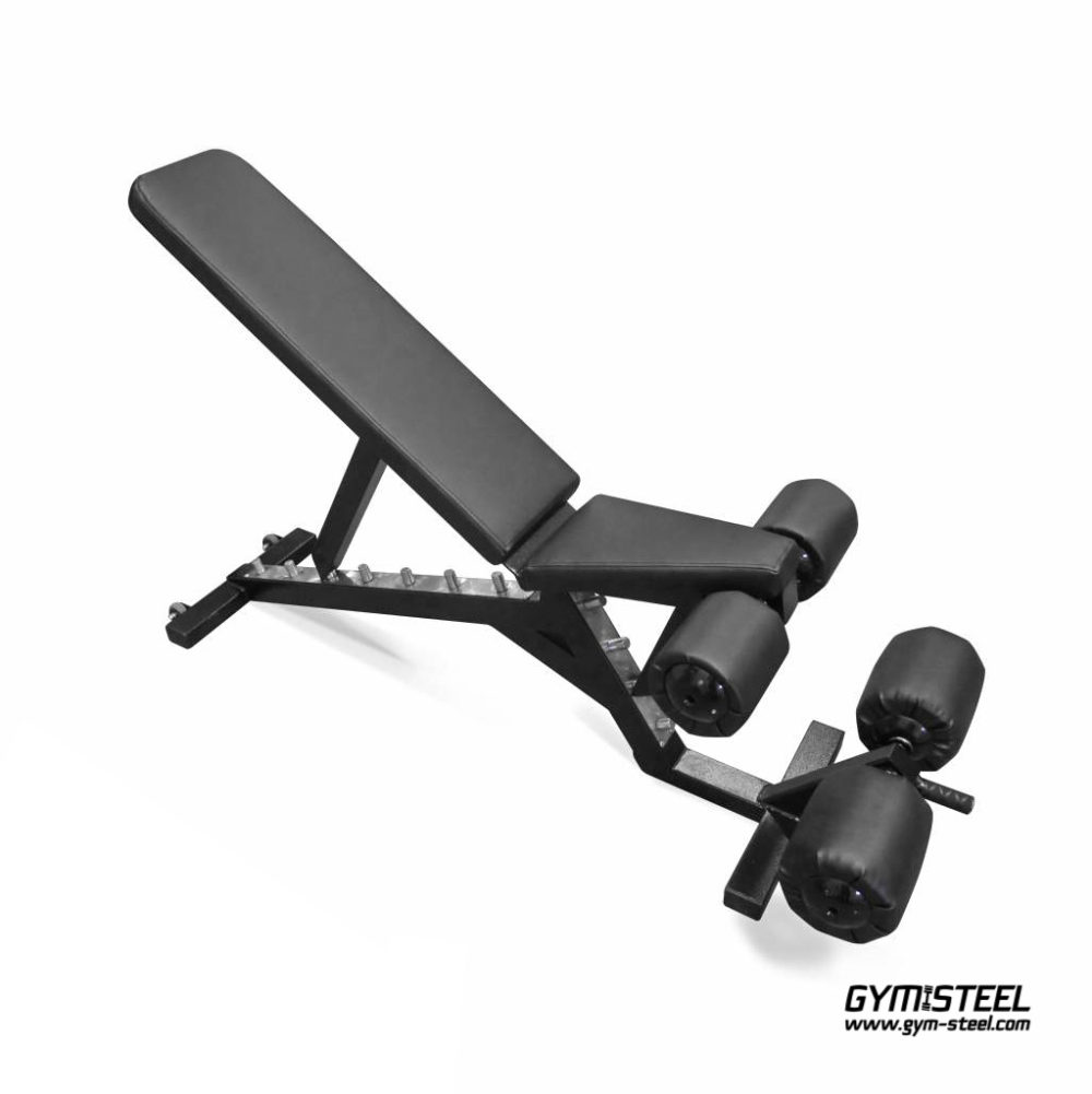 Adjustable Bench with transport wheels. Get a full-body workout with flat, decline, incline adjustable bench.