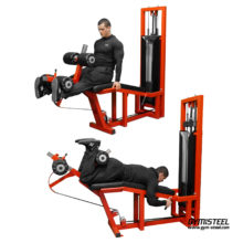 The Leg Extension / Leg Curl machine offers two exercises in one machine. The muscles targeted are the quadriceps and hamstrings.